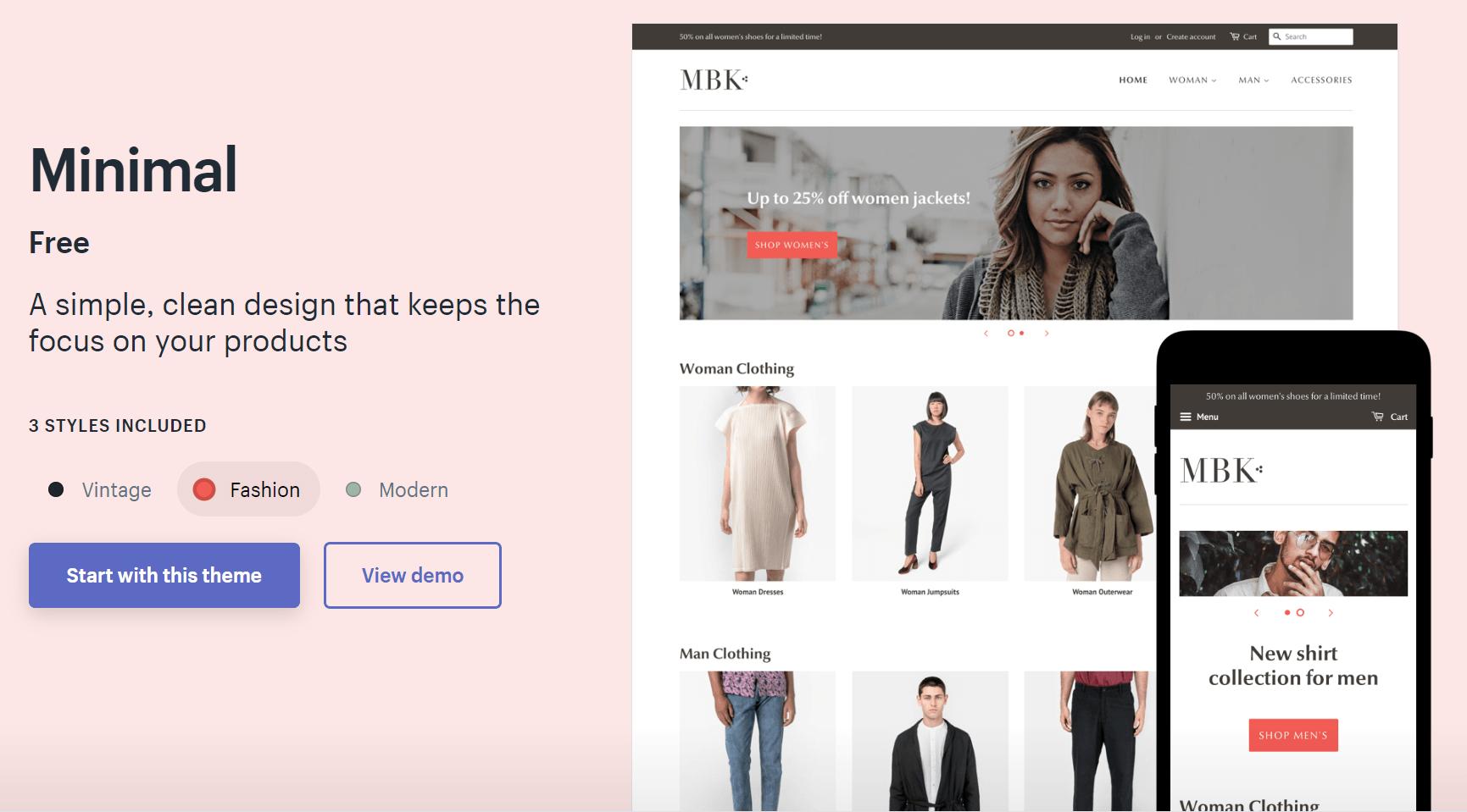 minimal shopify theme