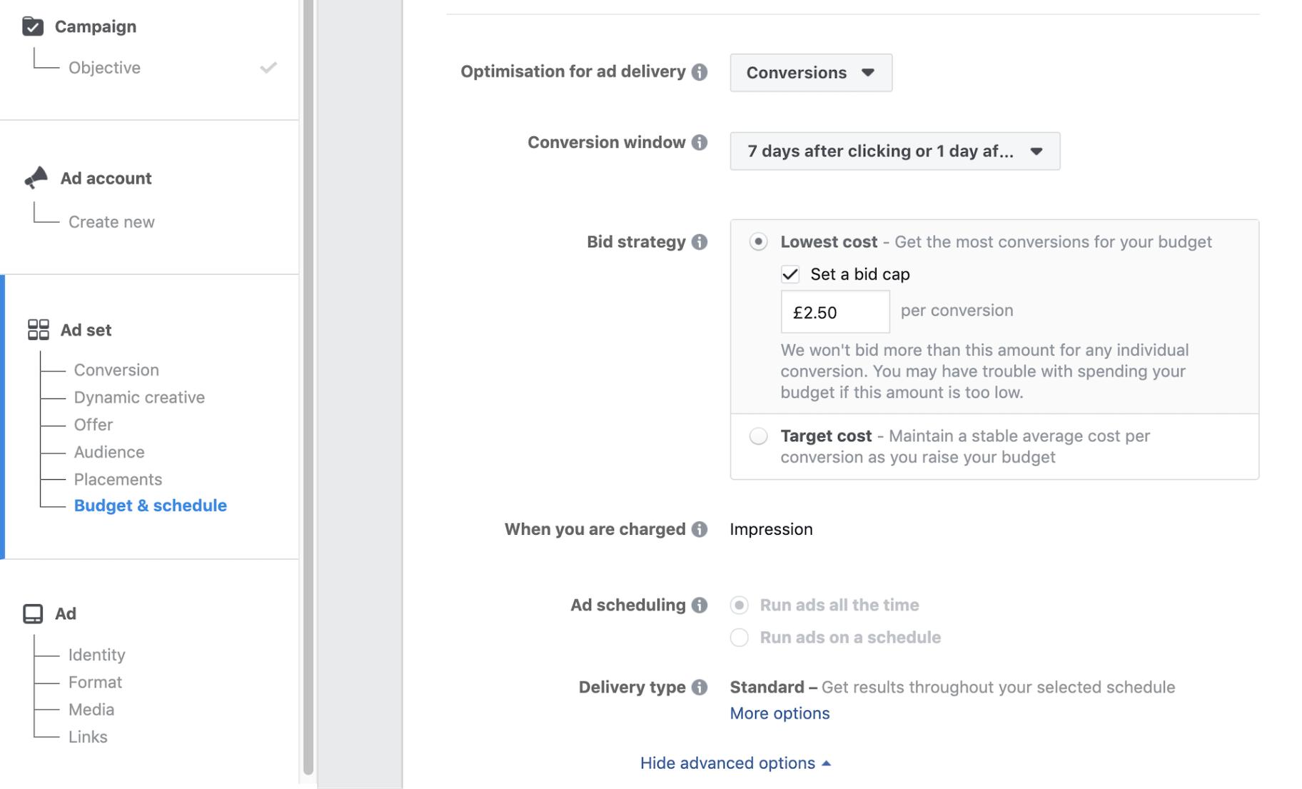 Facebook Ad Cost Bid