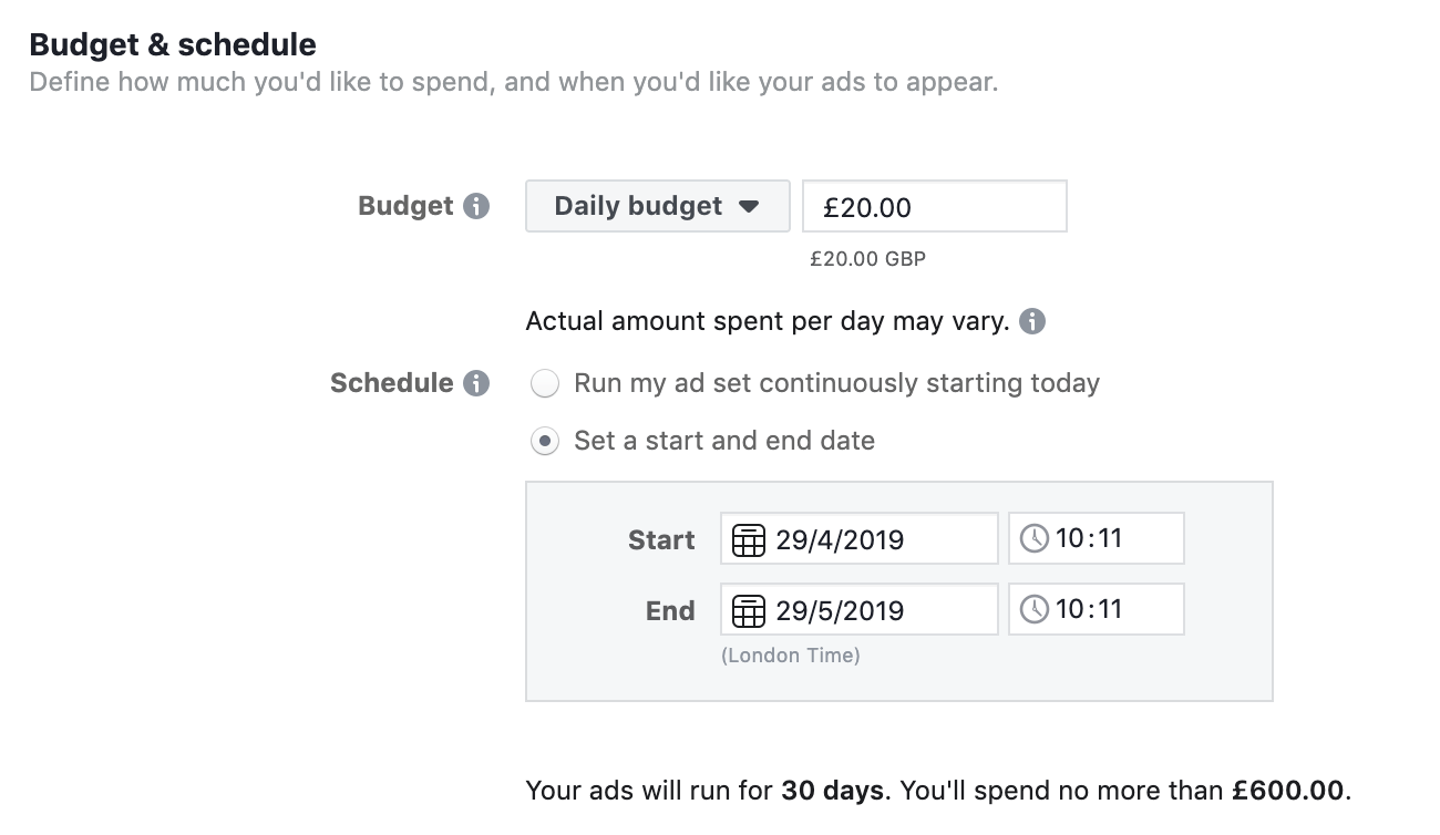 Facebook Ad Daily Budget