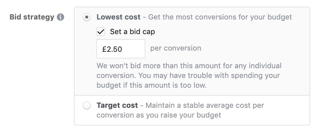 Facebook ad Bid Cap