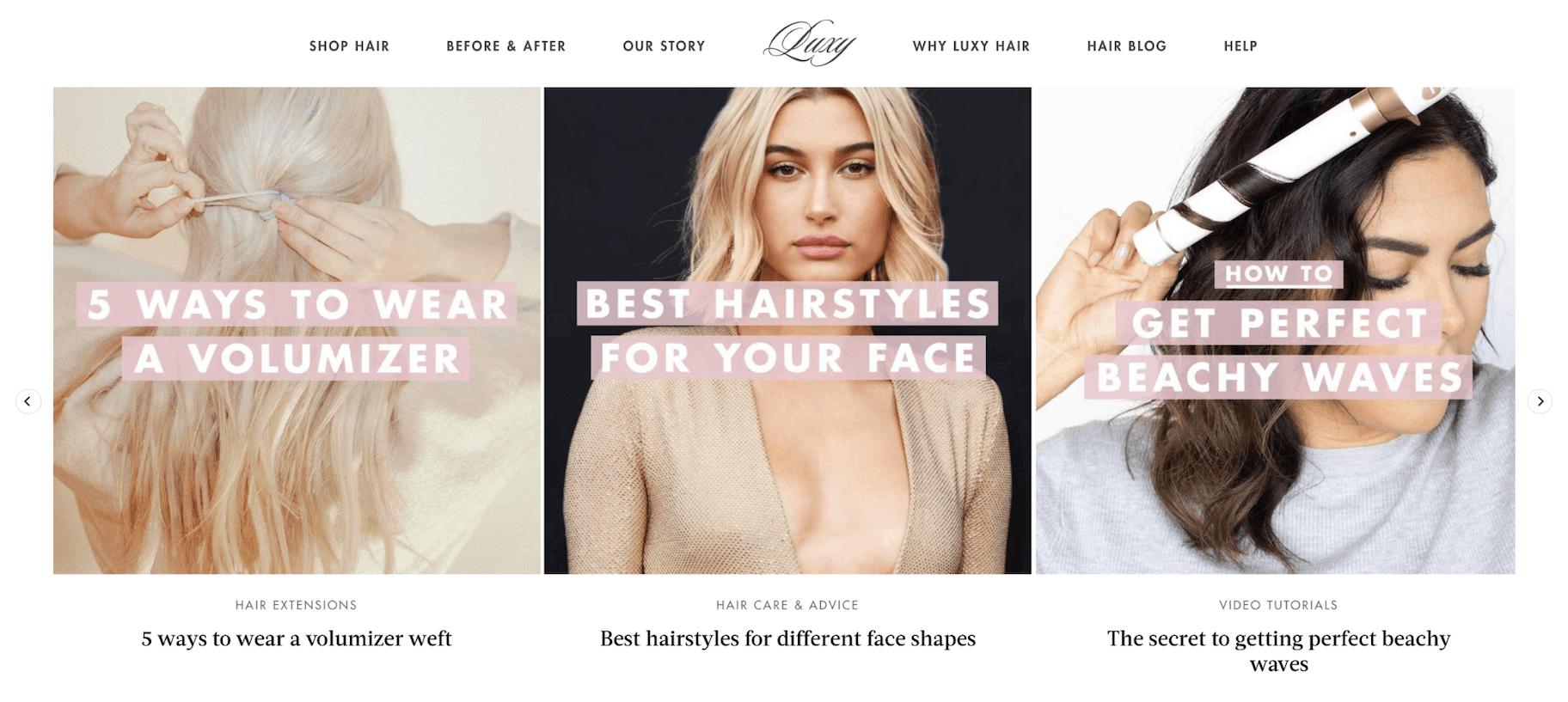 Luxy Hair Content Marketing