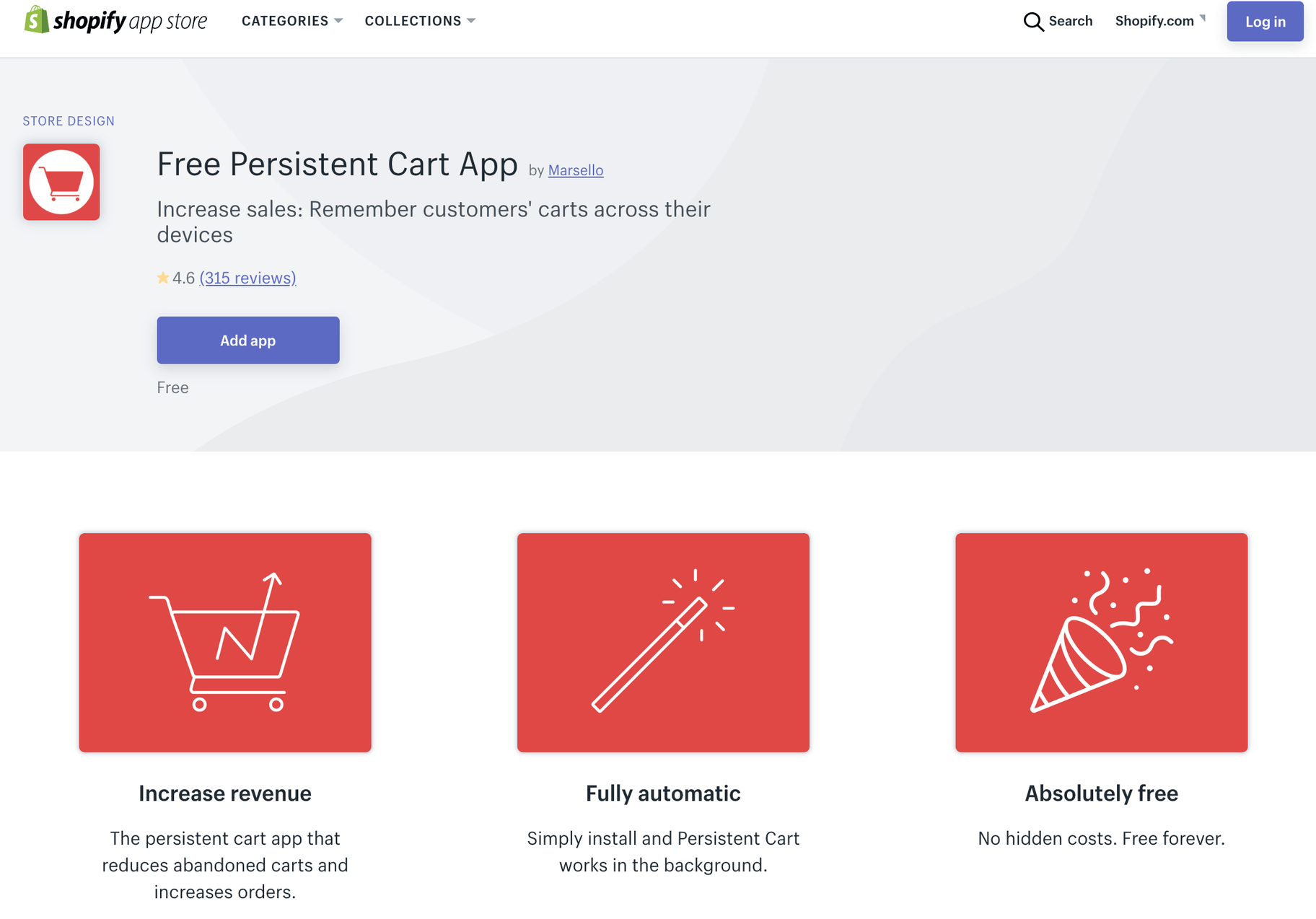 Free Persistent Cart App by Marsello