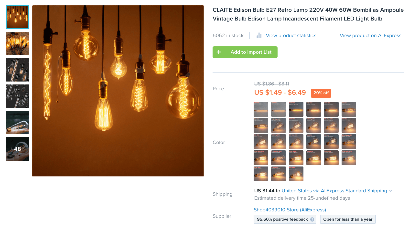 edison light bulb product