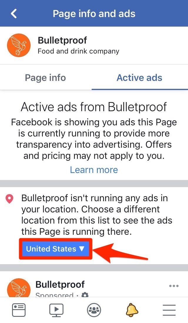Location Facebook Info and Ads