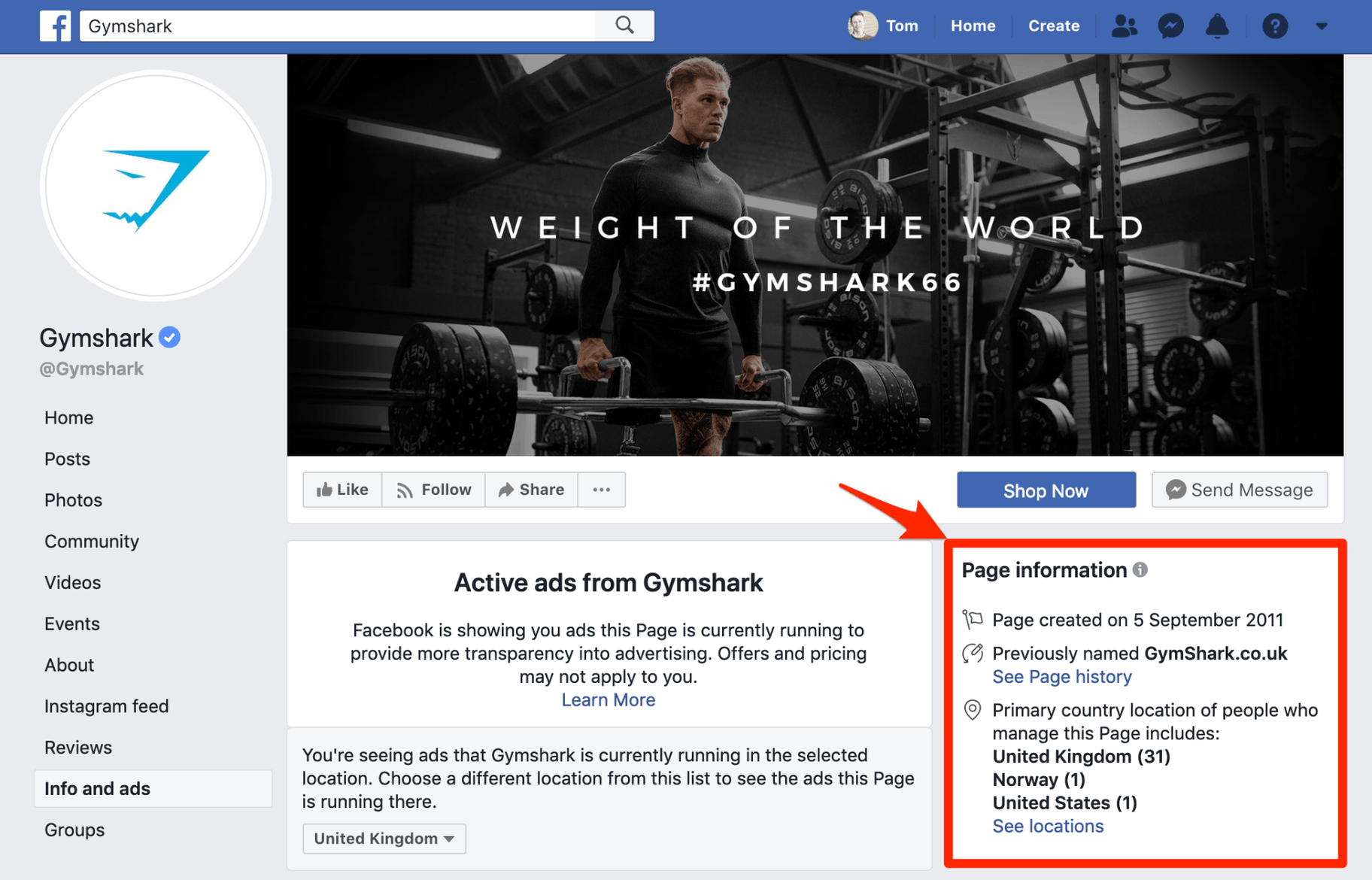 Gymshark Facebook Info and Ads