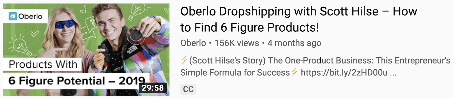 Oberlo Thumbnail and Title
