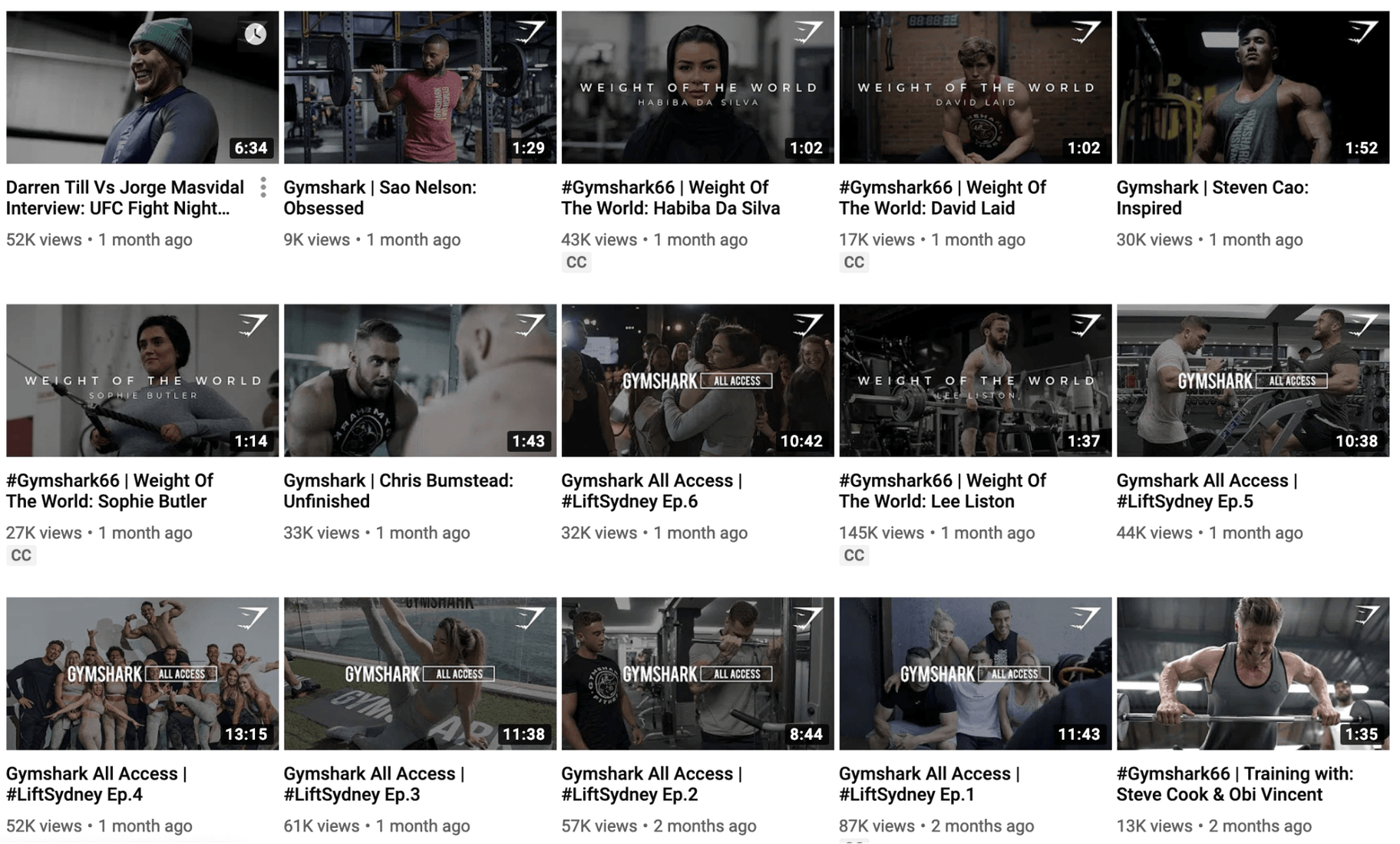 Gymshark Thumbnail on YouTube