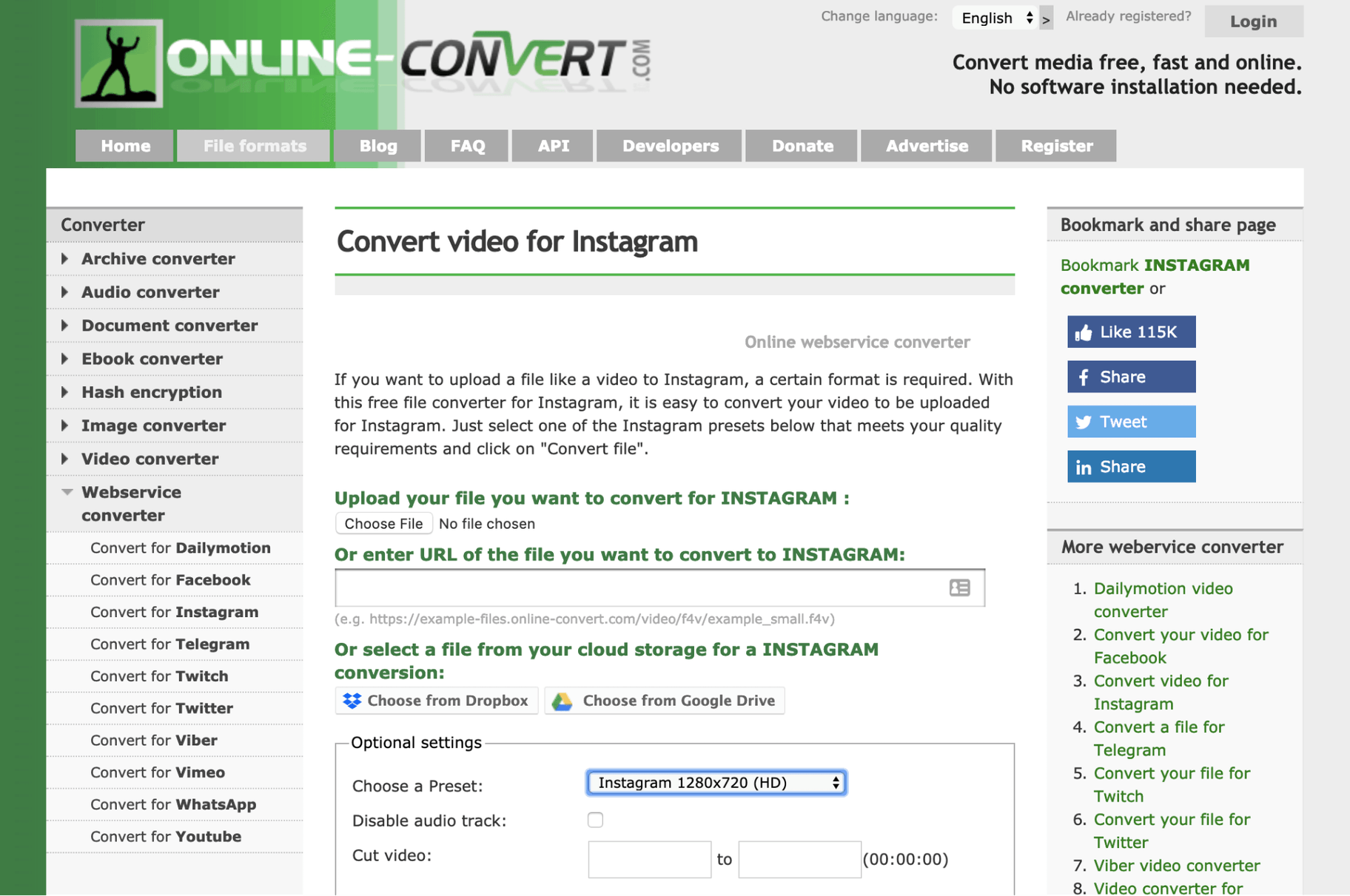 Online Convert Instagram Video Format