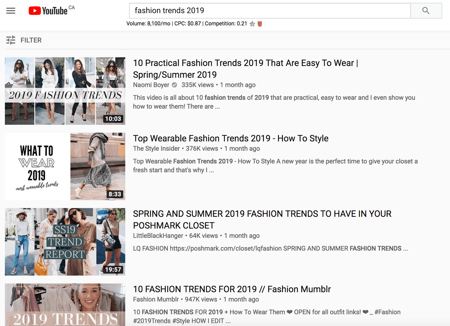 youtube trends for fashion