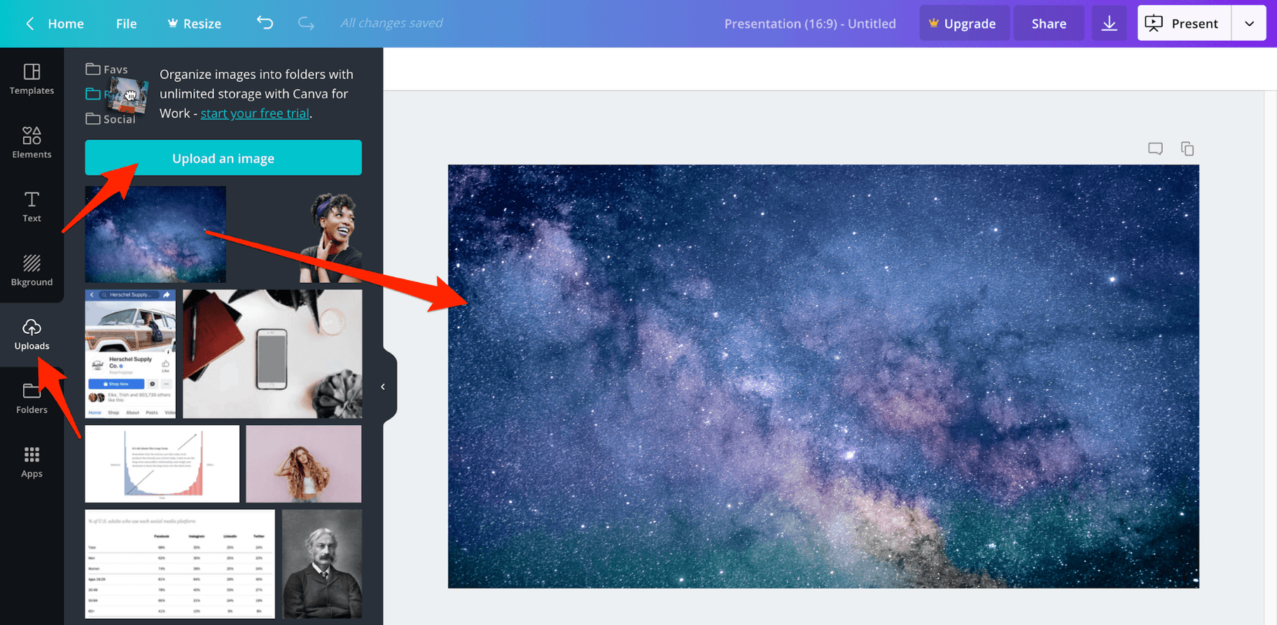 Upload Image to Canva