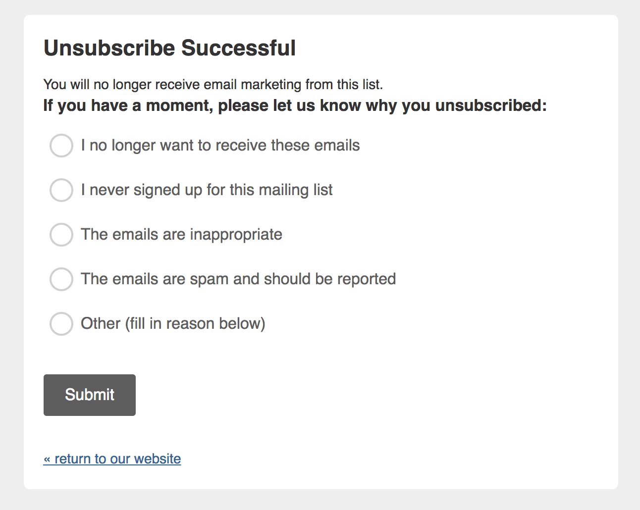 unsubscribe feedback