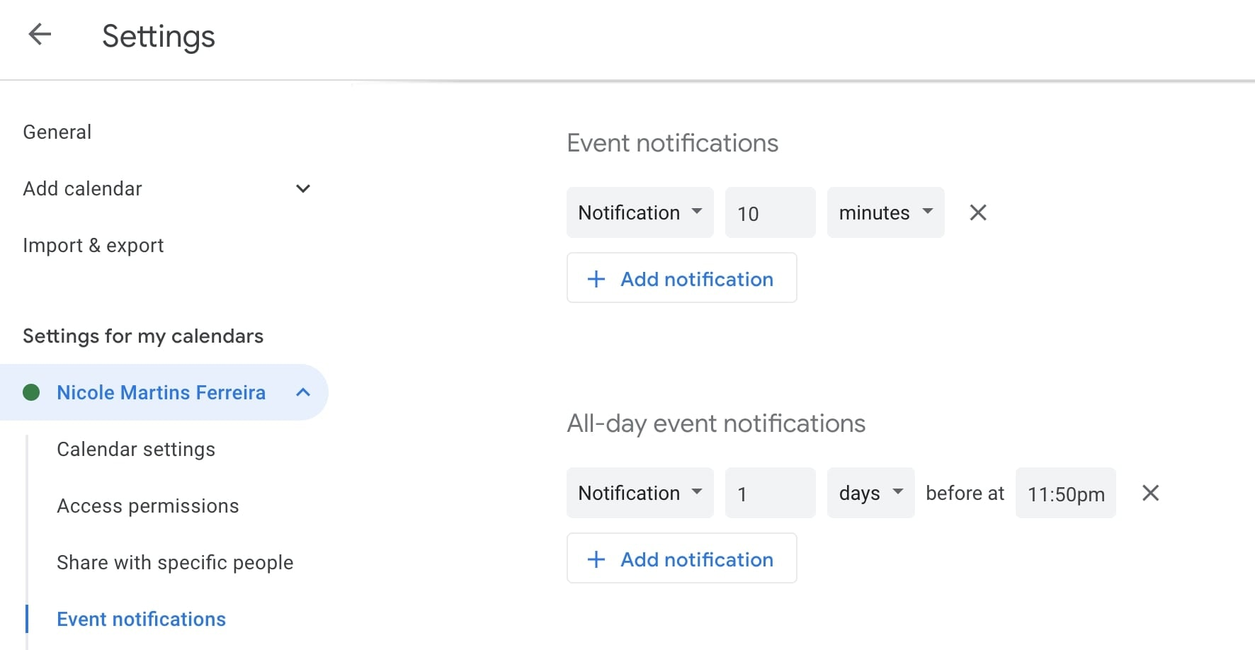 event notifications google calendar