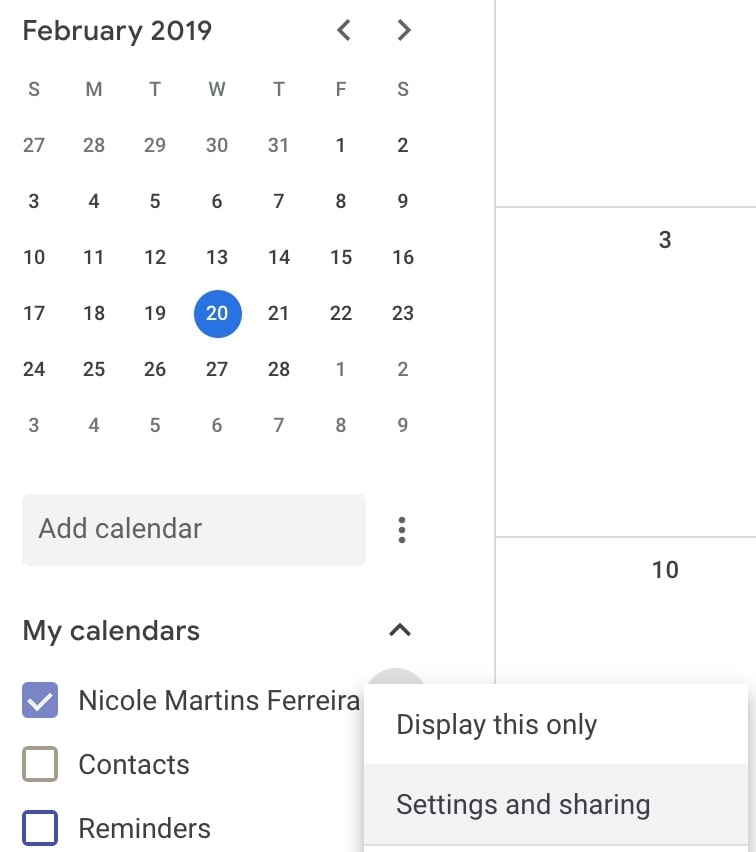 how to share google calendar