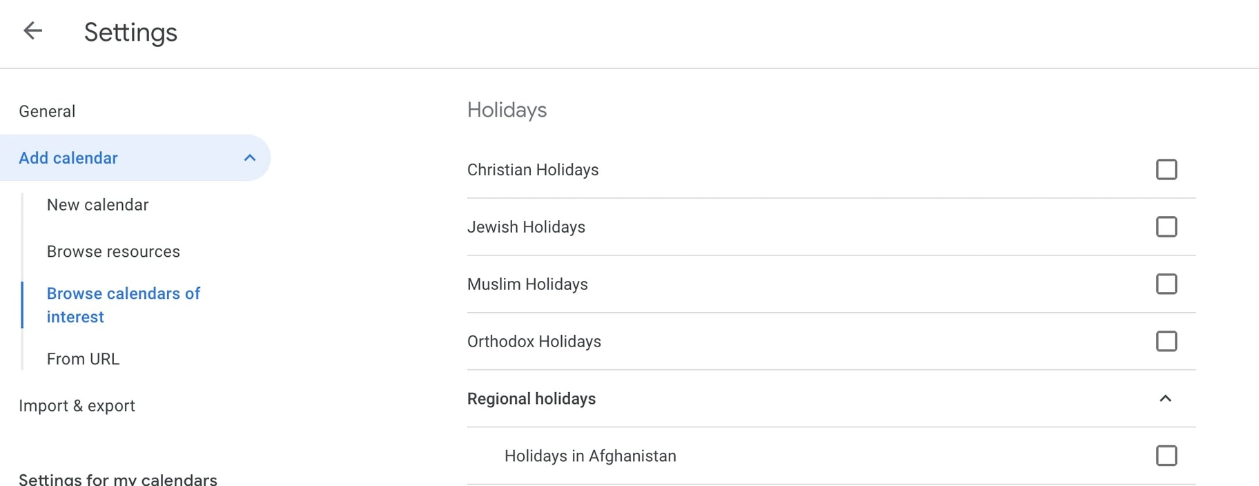 change your holidays based on your religion in google calendar