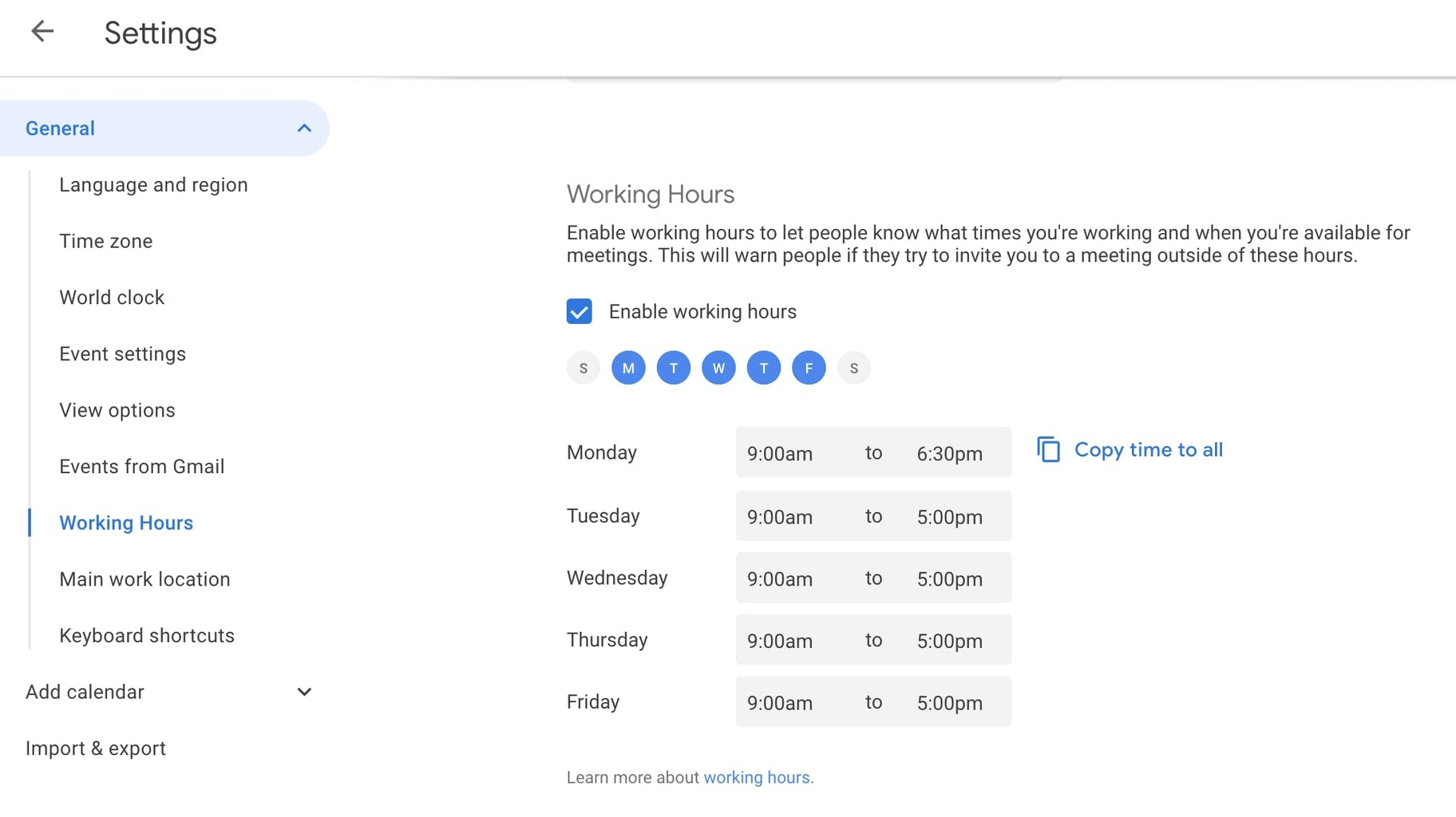 Working hours Google calendar