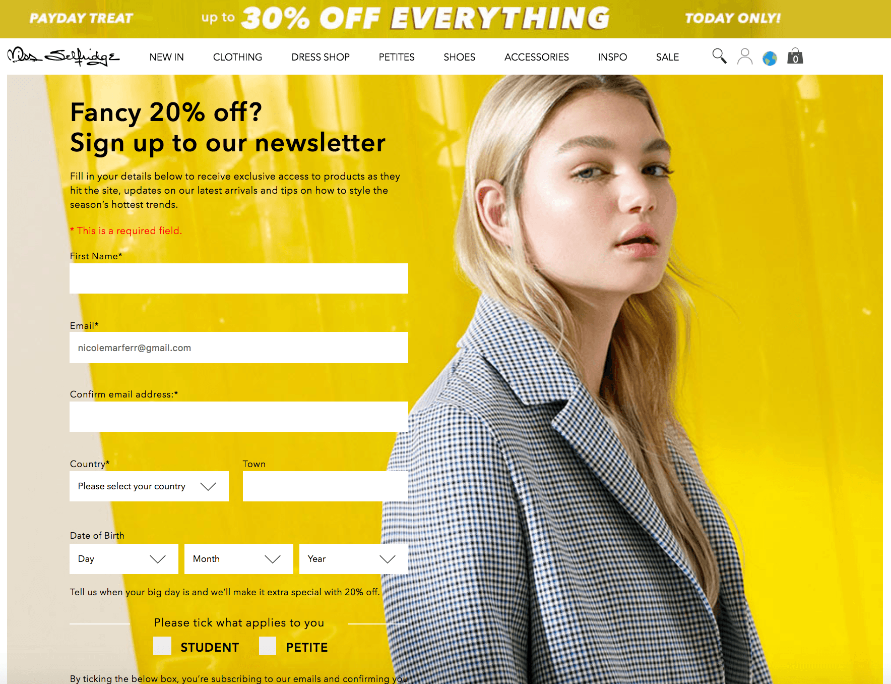 discount personalization email opt in form