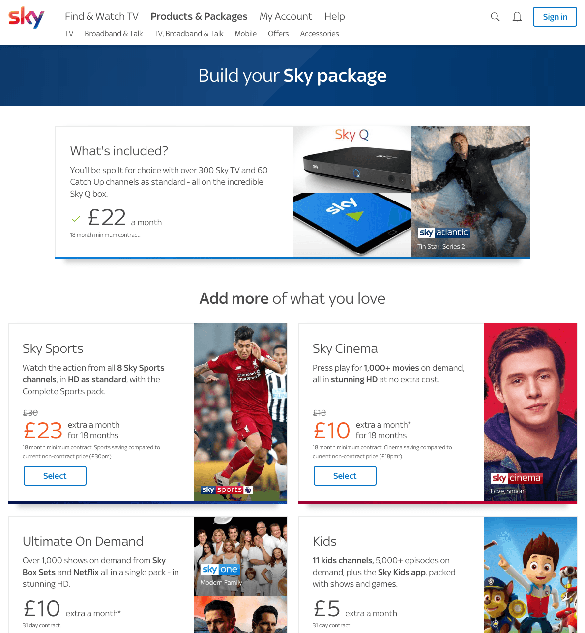 Sky Upselling Packages