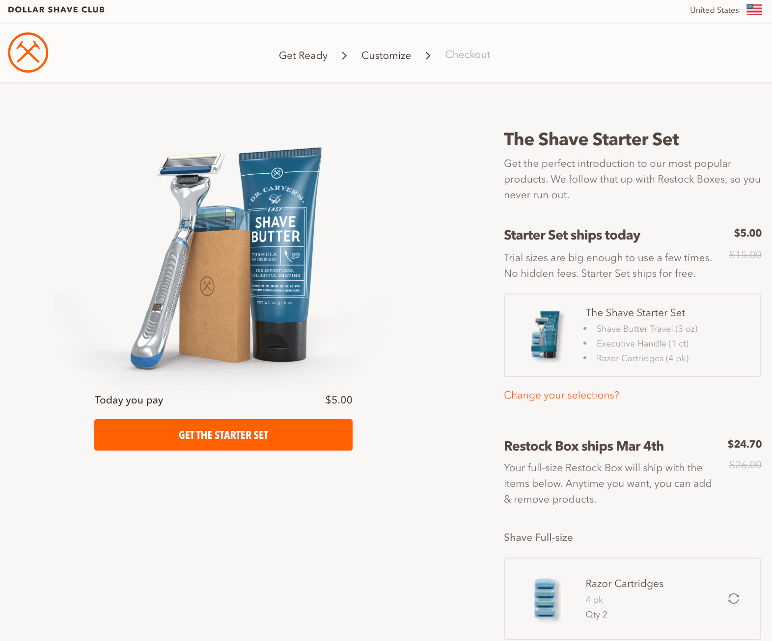 Dollar Shave Club Upselling example