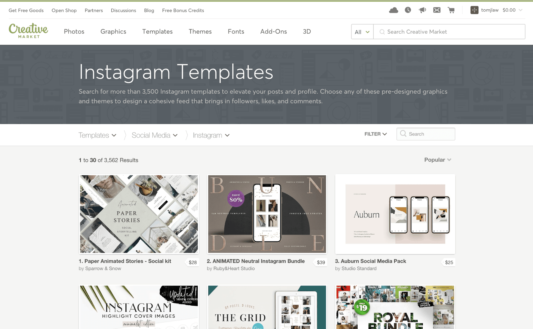 Creative Market Instagram Templates