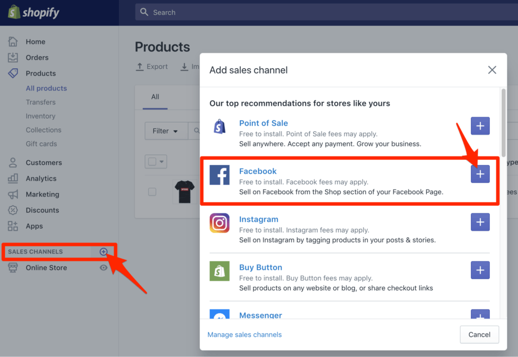 Add Facebook Sales Channel to Shopify