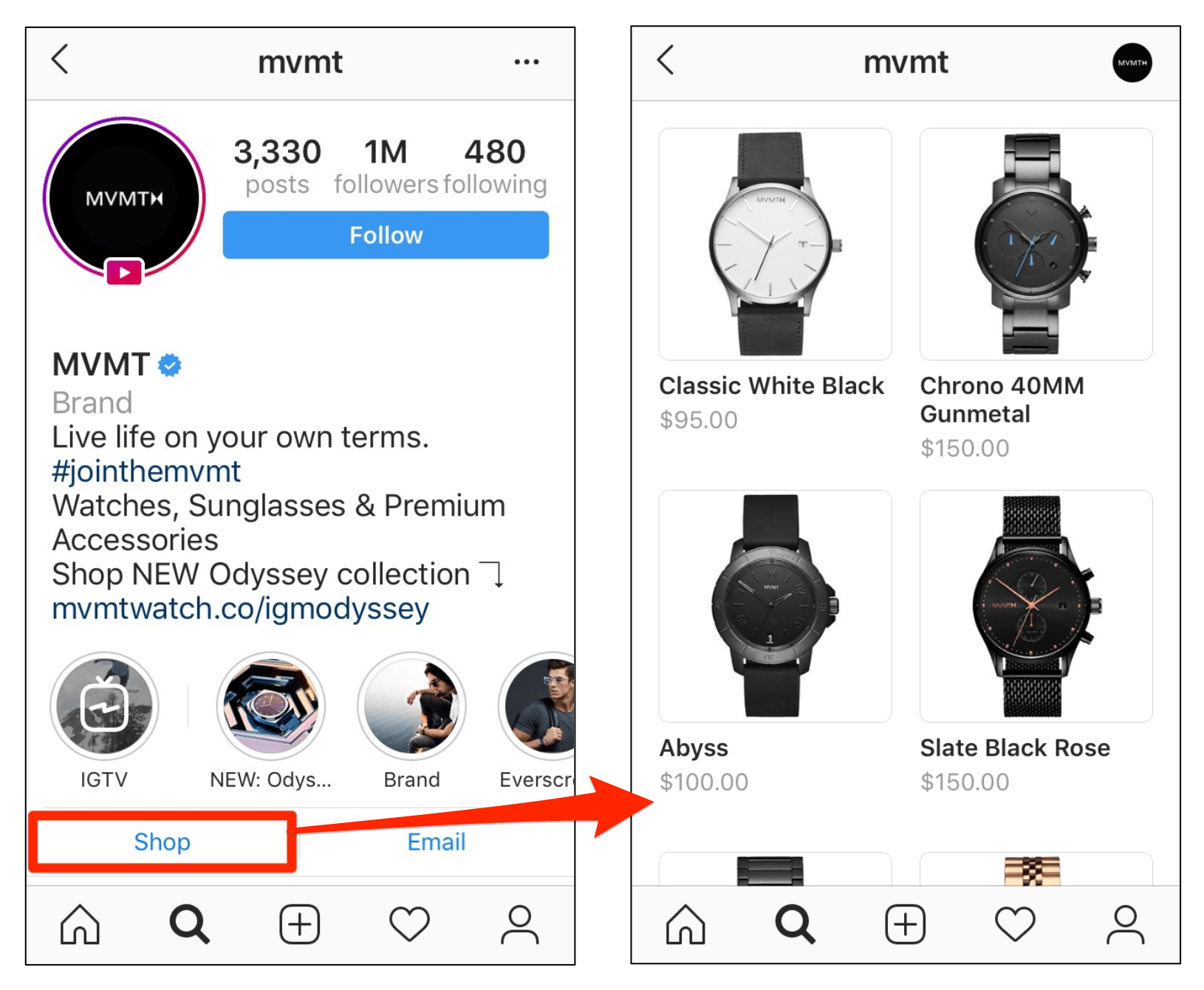 Instagram Shop Profile Tab