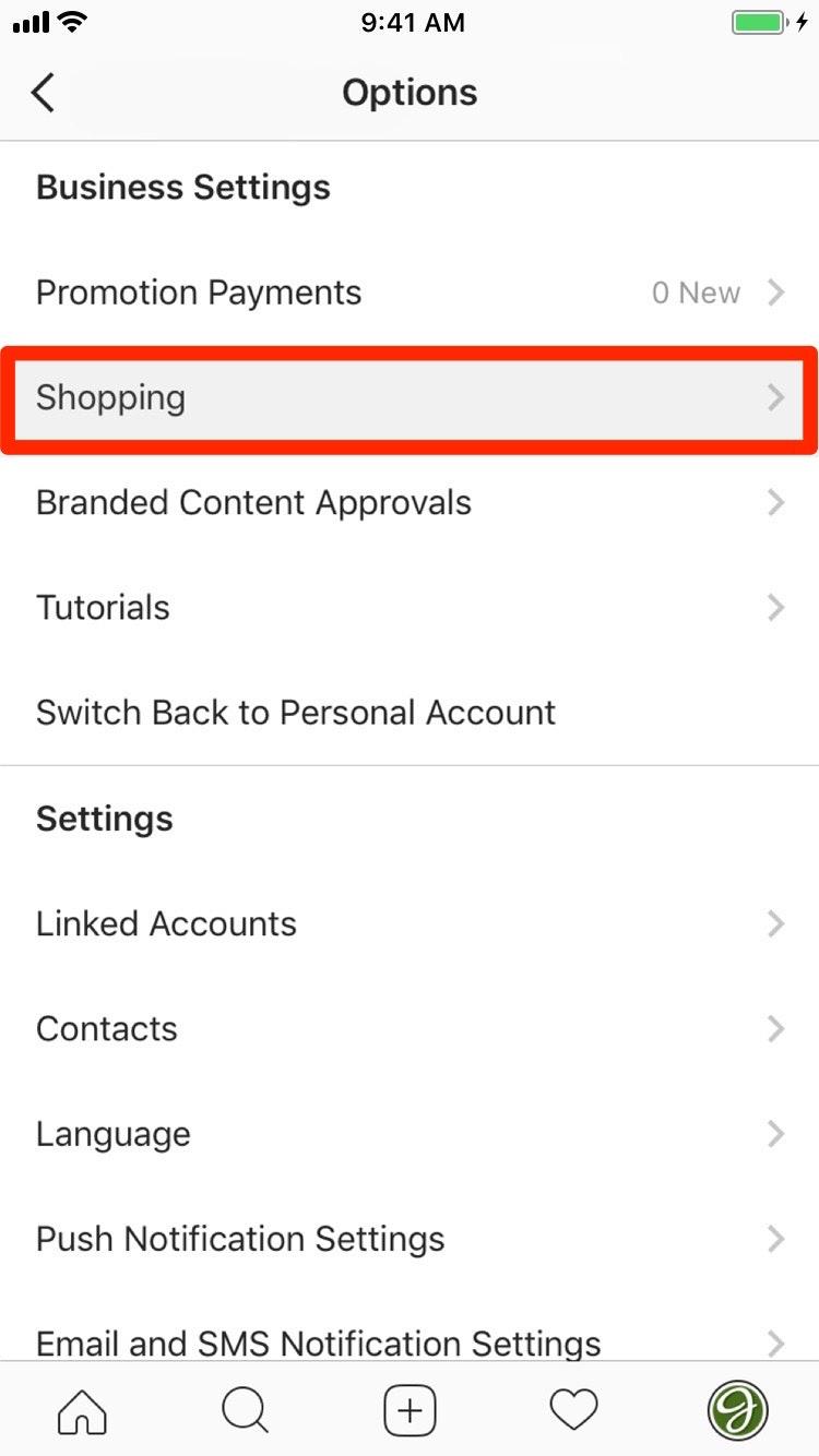 Instagram Shopping Settings