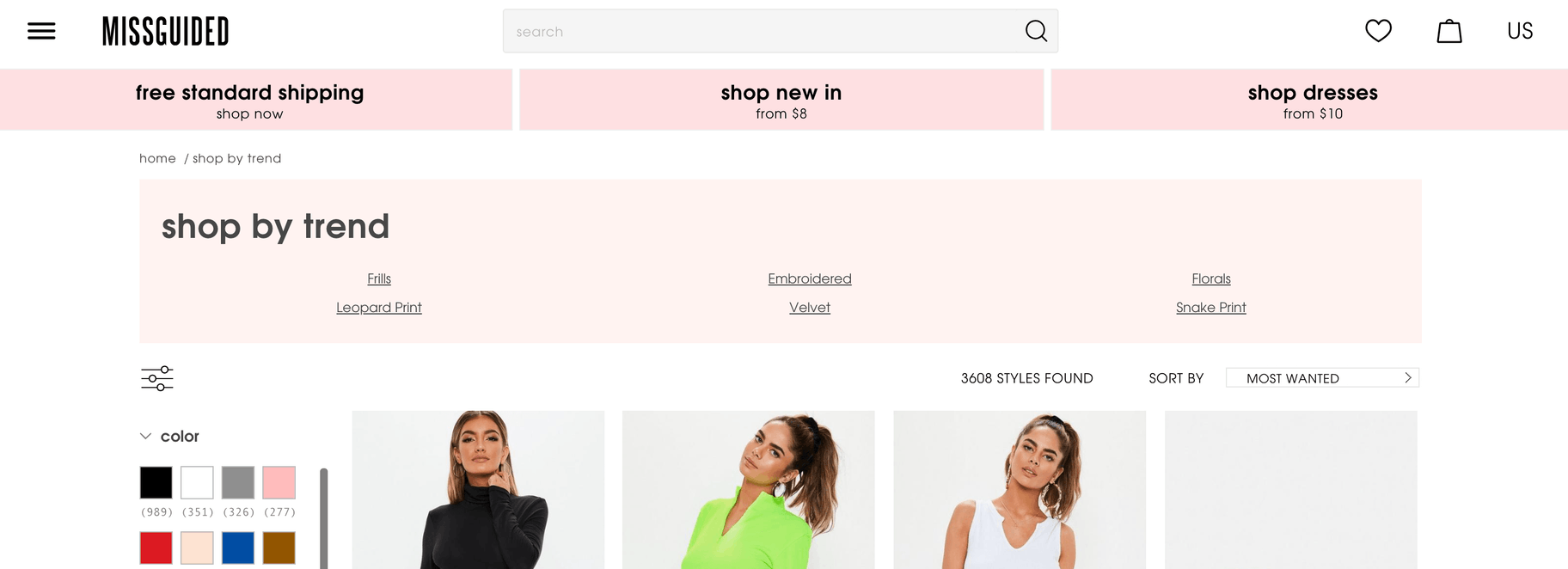 find trending products missguided