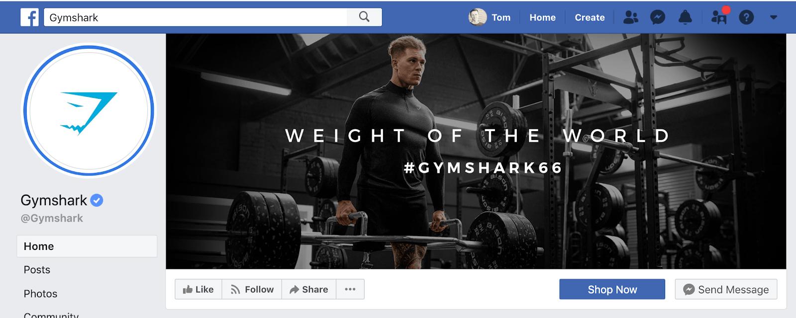 Gymshark Facebook Page