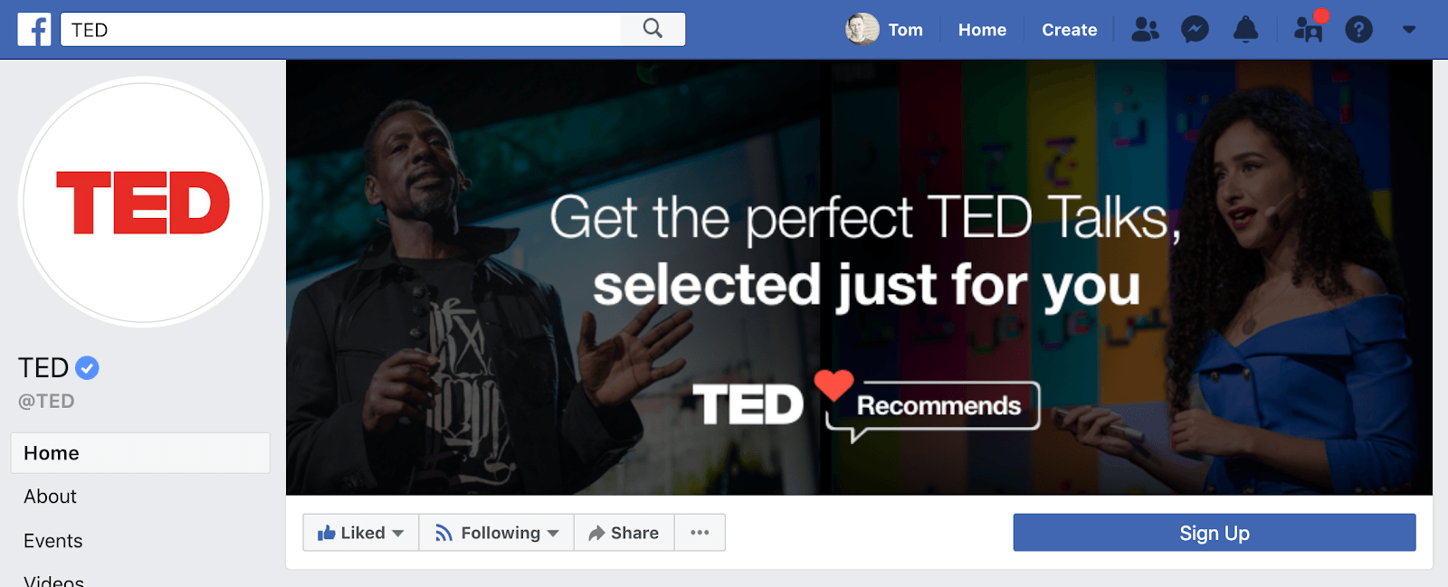 Ted Talks Facebook Page