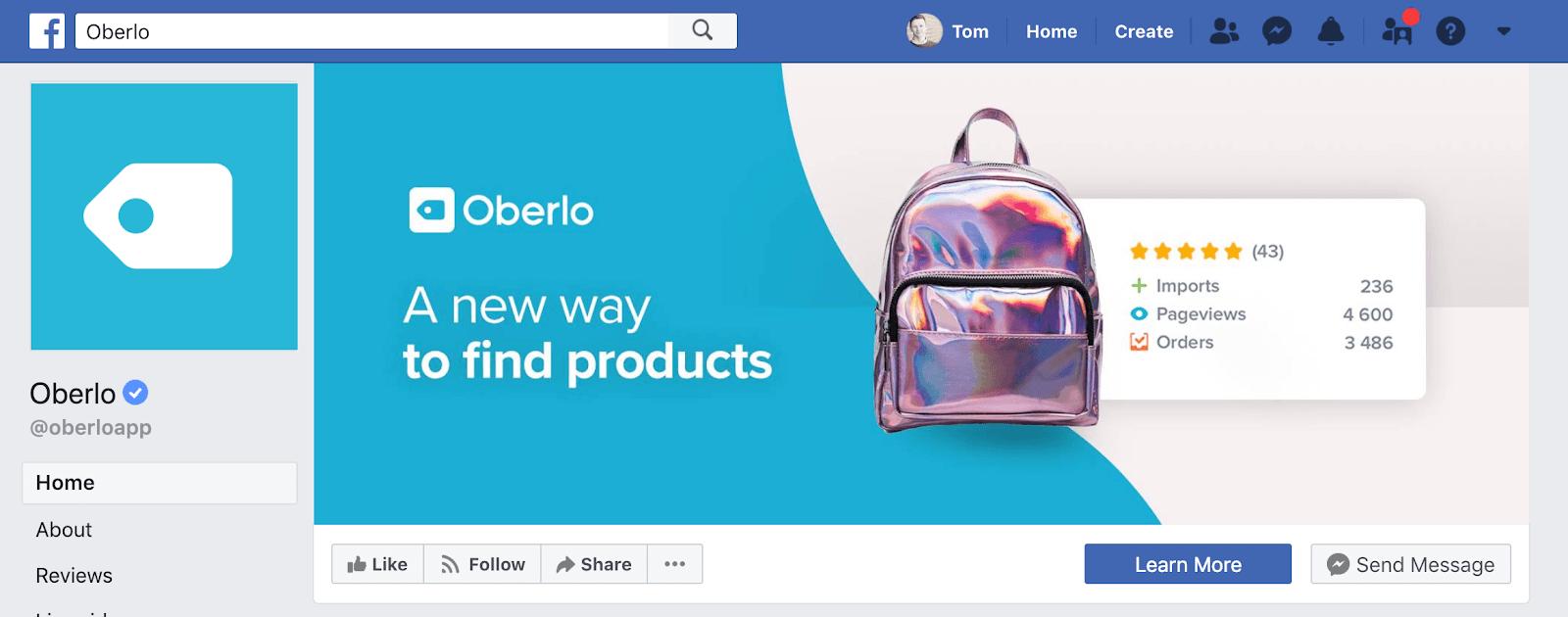 Oberlo's Facebook Page