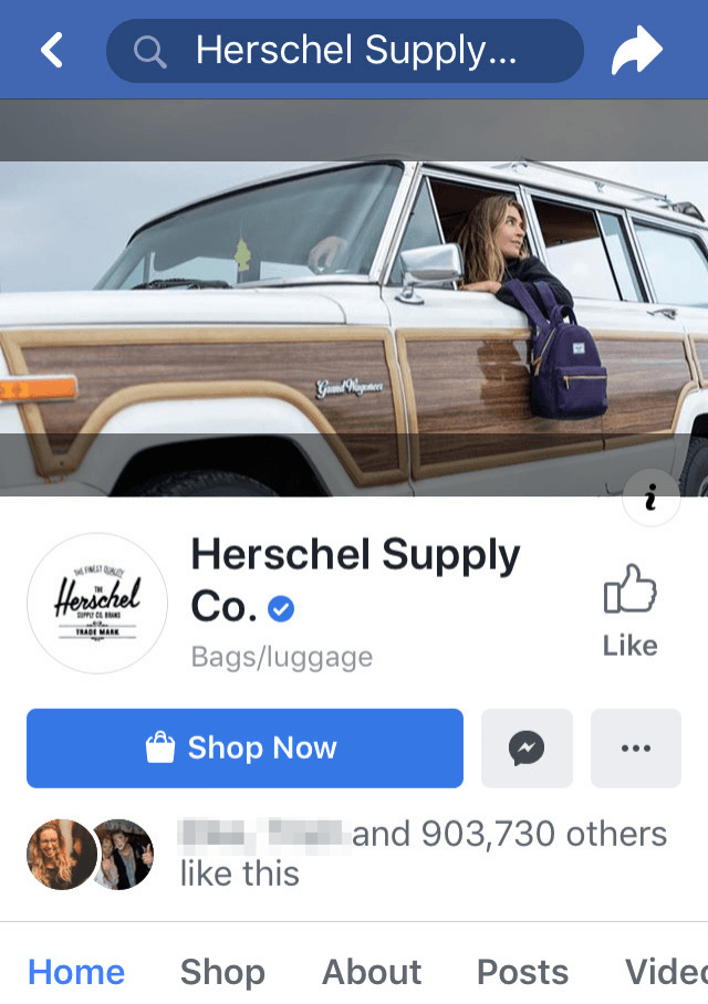 Herschel Supply Facebook Page on Mobile