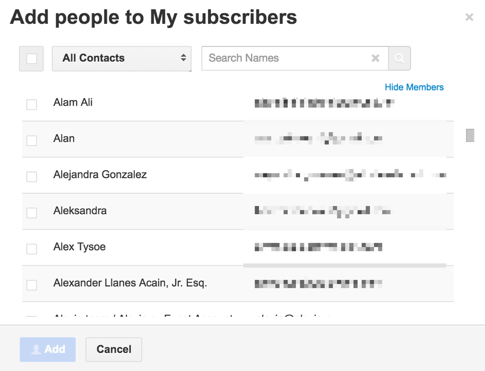 Gmail contacts people