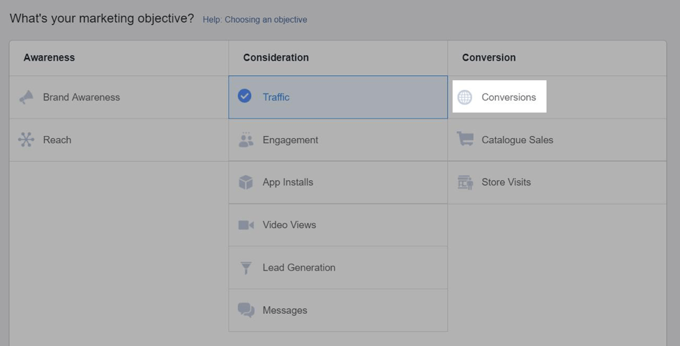 FB ads conversion objective