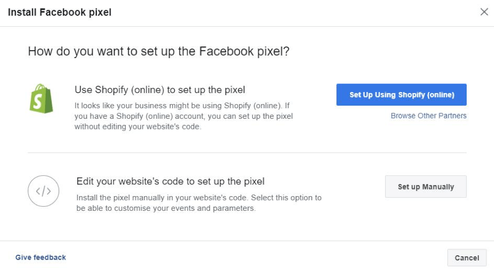 connect fb pixel shopify