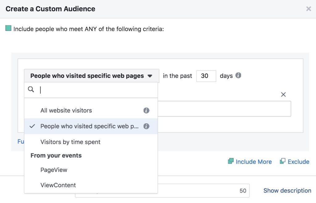 Facebook Retargeting Options