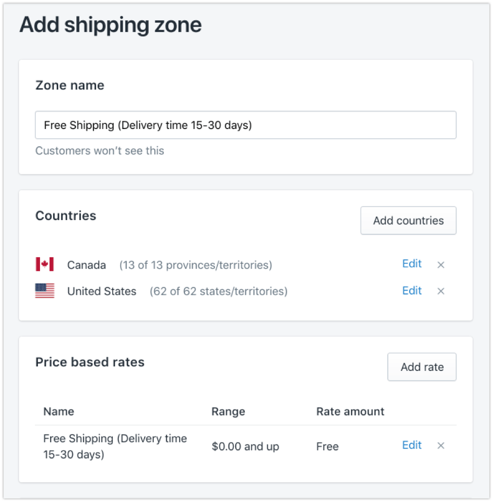 shopify add shipping zone