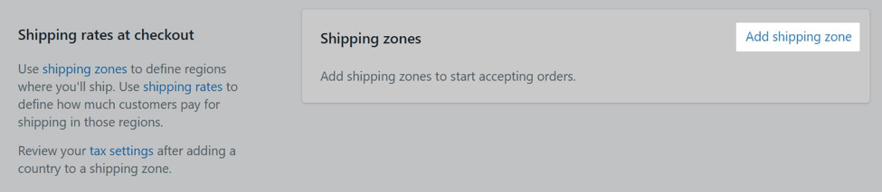 add shipping zone shopify