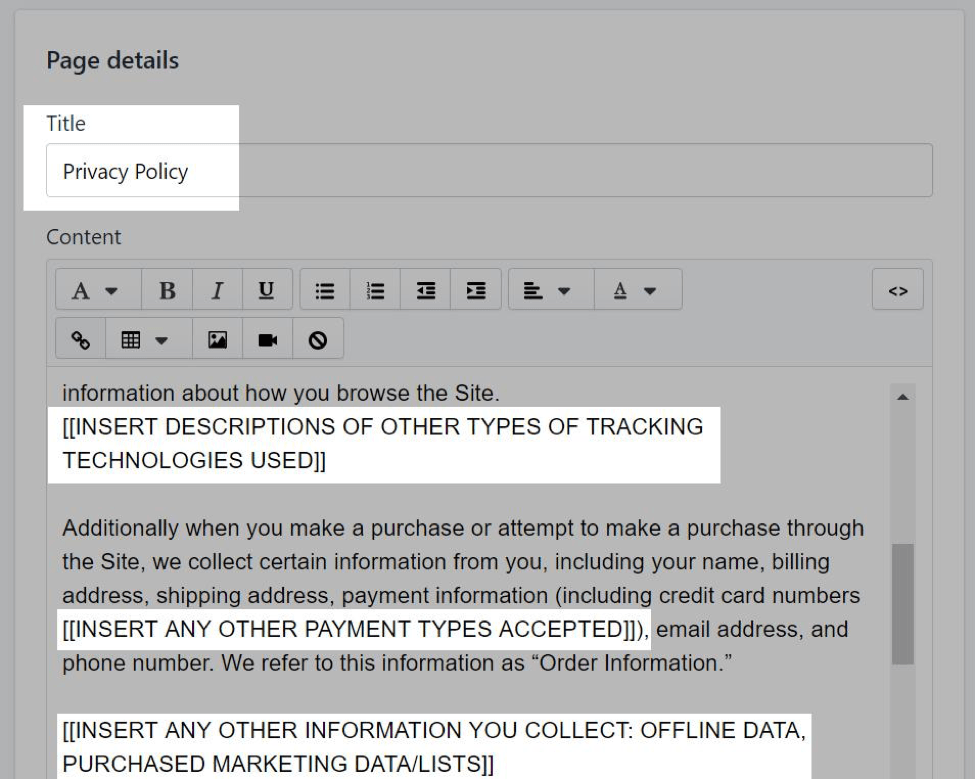 privacy policy shopify tips