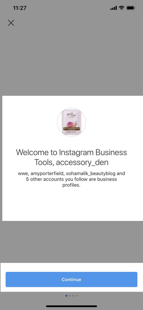 business profile on Instagram