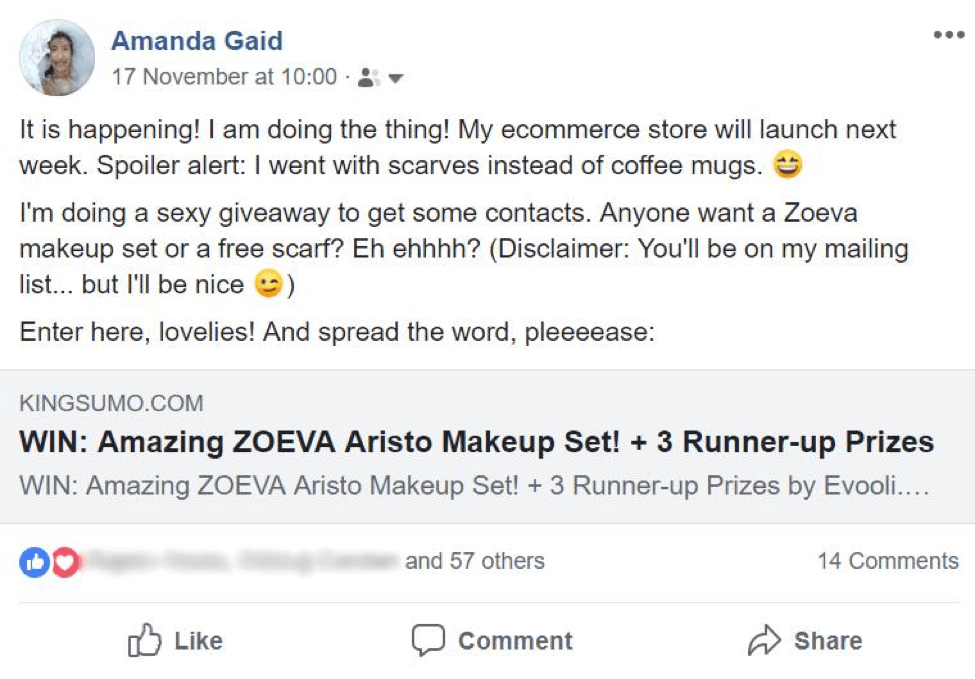 promoting an ecommerce giveaway