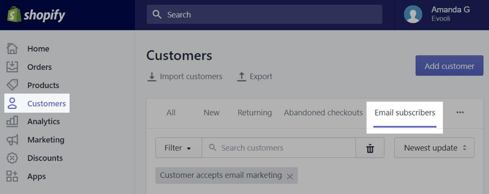 shopify email subs