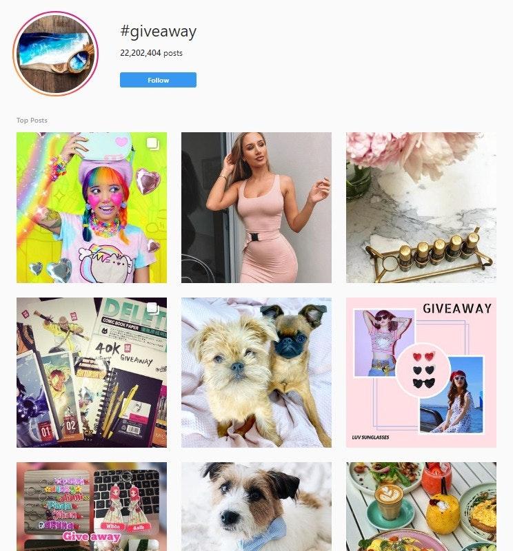 instagram giveaways