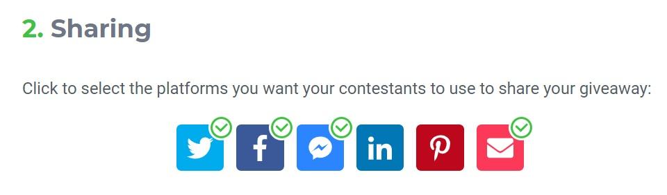 KingSumo sharing settings