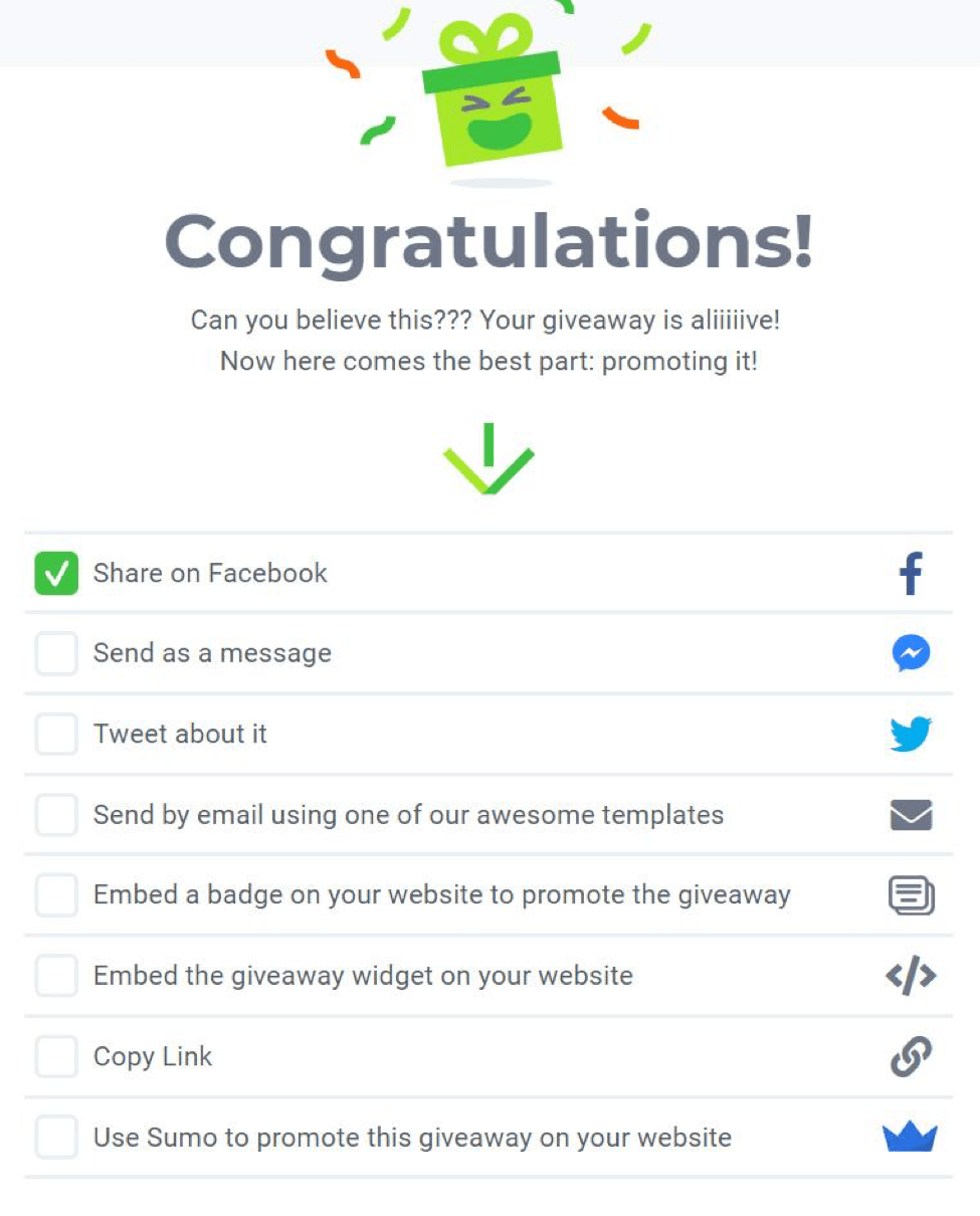 creating a giveaway with kingsumo