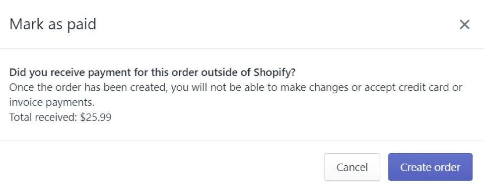 create shopfiy order