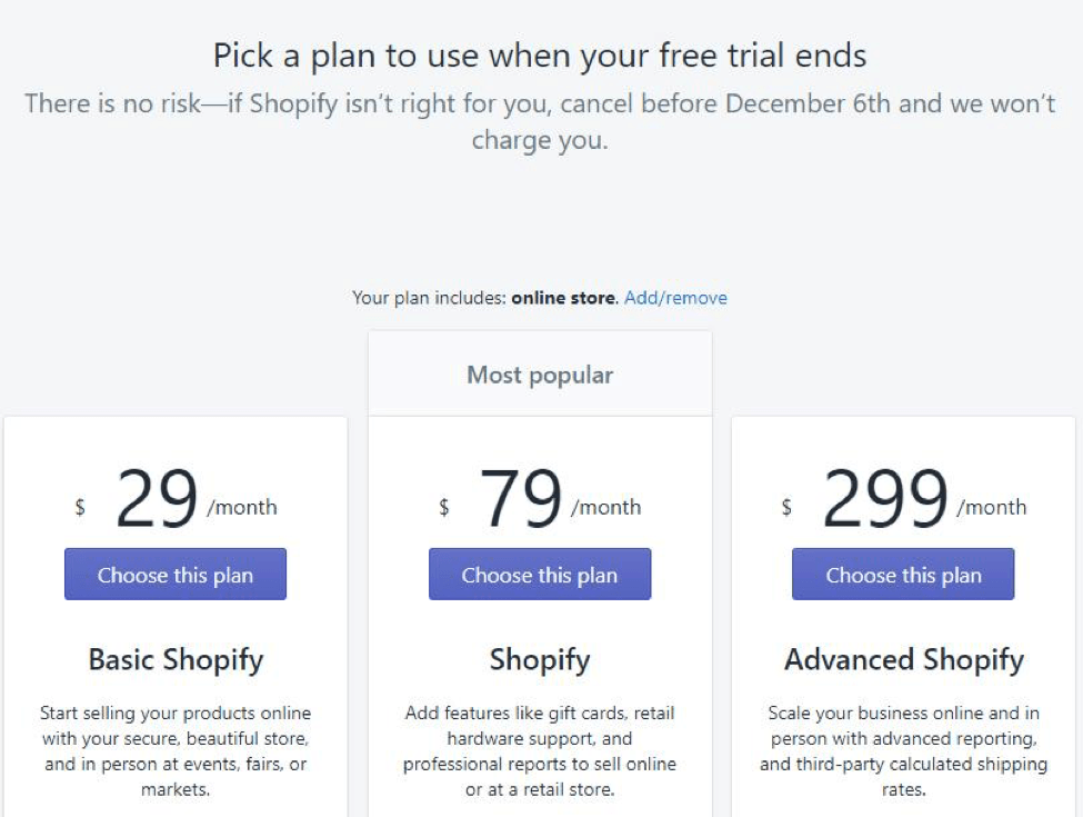 Shopify basic plan