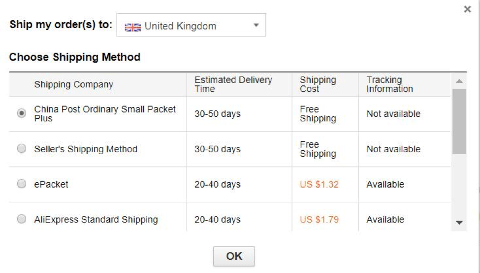 choose shipping method