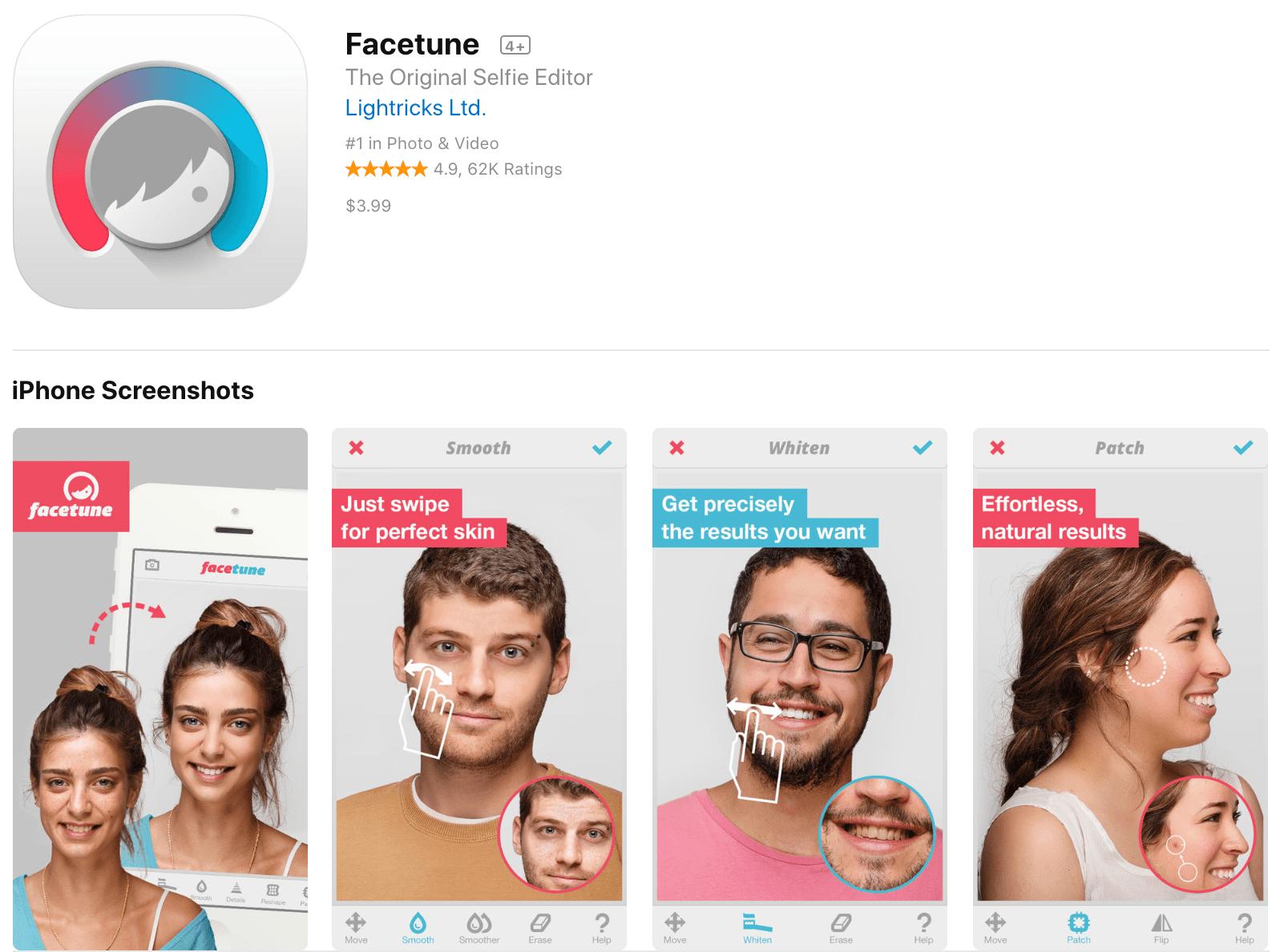Facetune Paid Photo Editing App