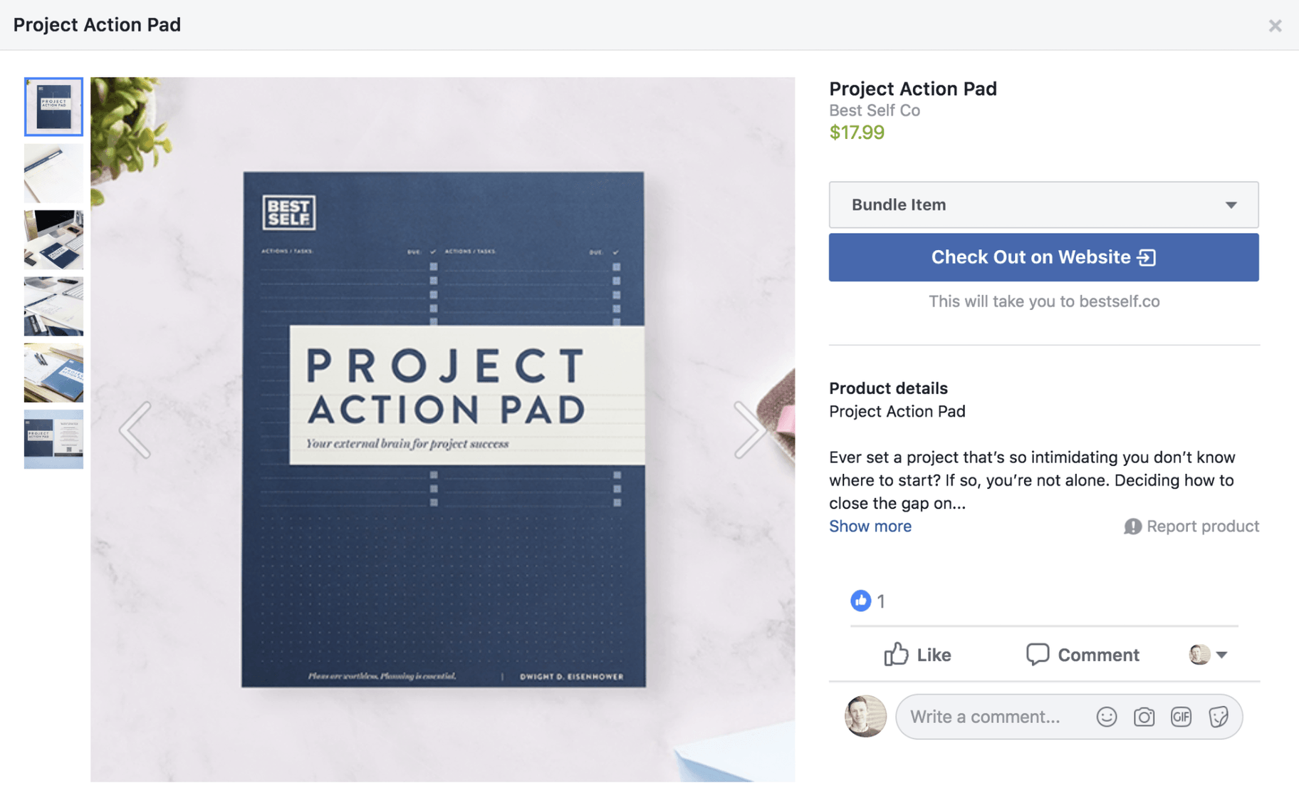 Facebook Shop Product Page Example