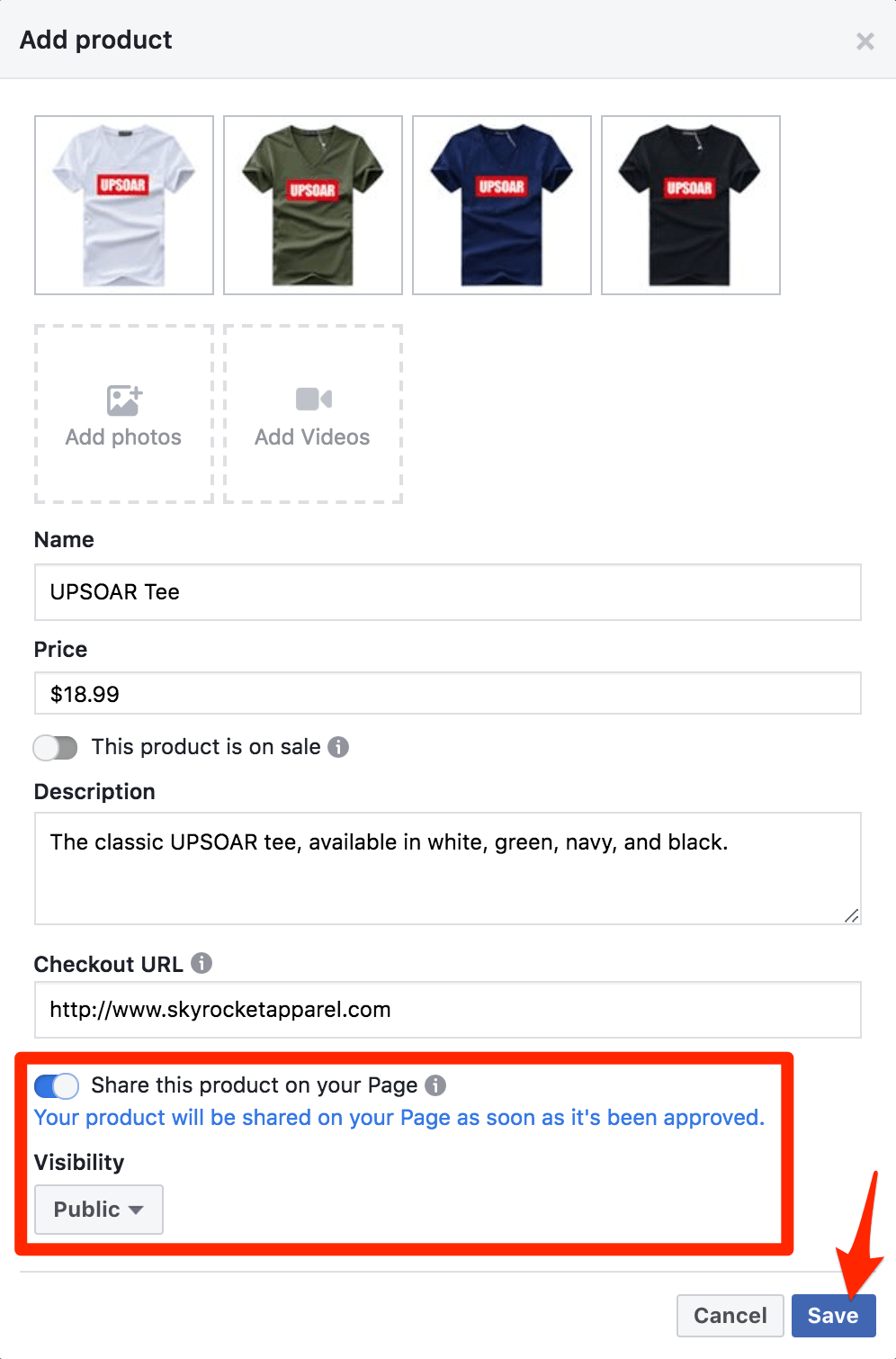 Facebook Shop Add Product